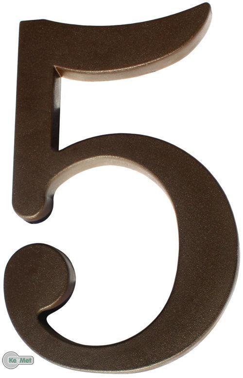 """Hausnummer  /""""6/"""" aus Kunststoff Dunkel Braun Höhe 175mm"""